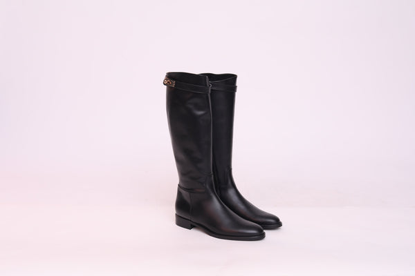 Leather Riding Boots With Plate Buckle
