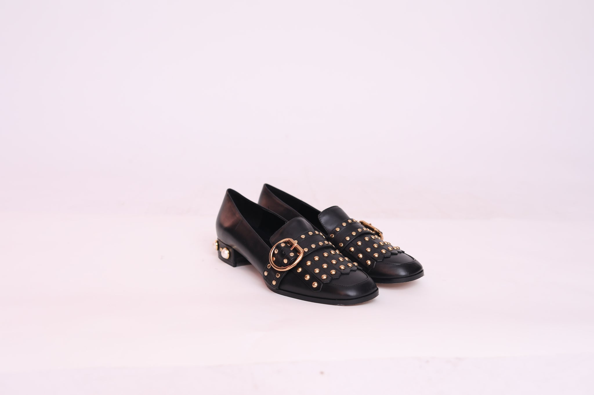 Leather Pearled Heels Studded Shoes