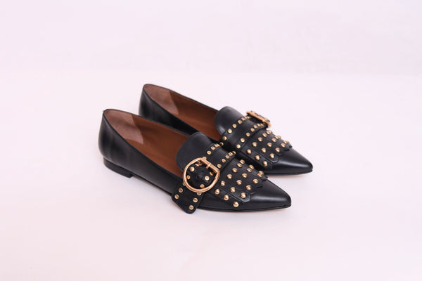 Leather Studded  Flat Shoes