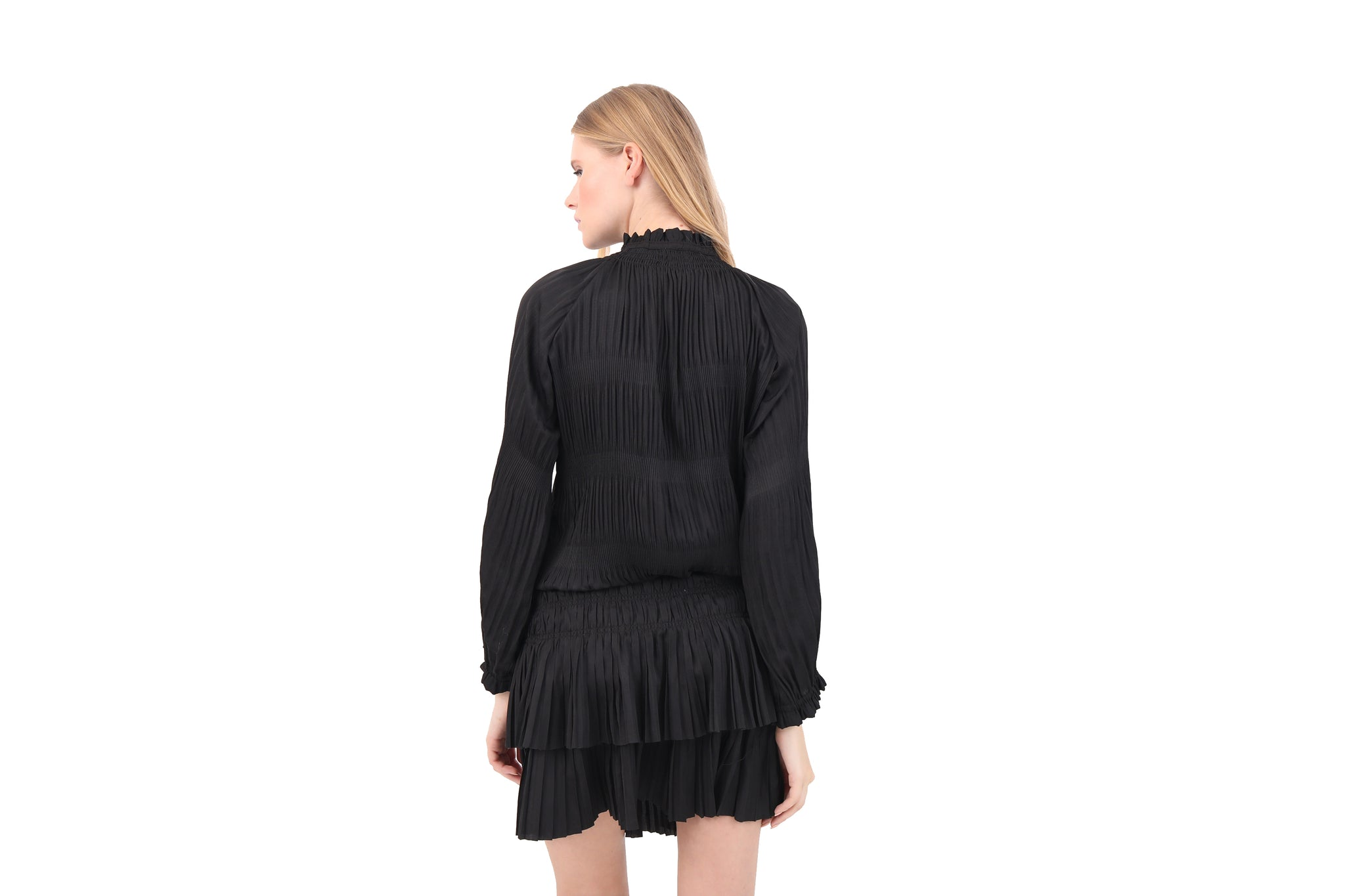 Pleated Long Sleeve Mini Dress