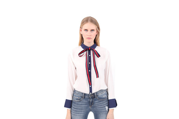 Ribbon Bow Cuffed Blouse