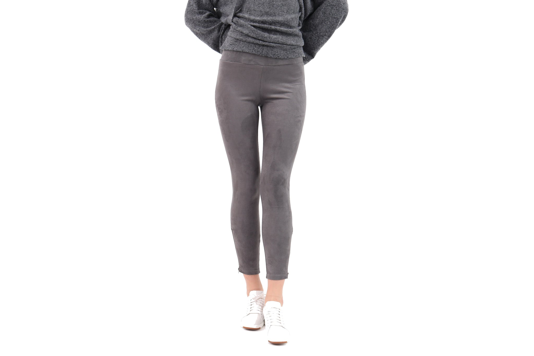 Bottom Zipper Suede Leggins