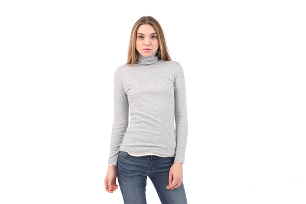 Fitted Raw Edge Turtleneck Sweater