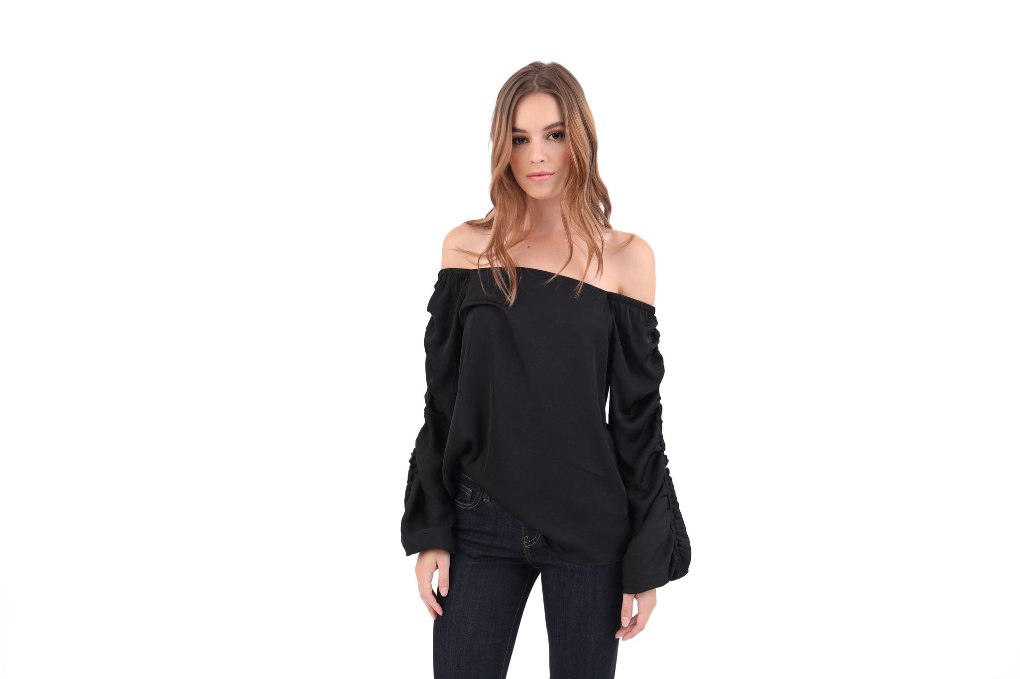 Rouched Sleeve Off Shoulder Top