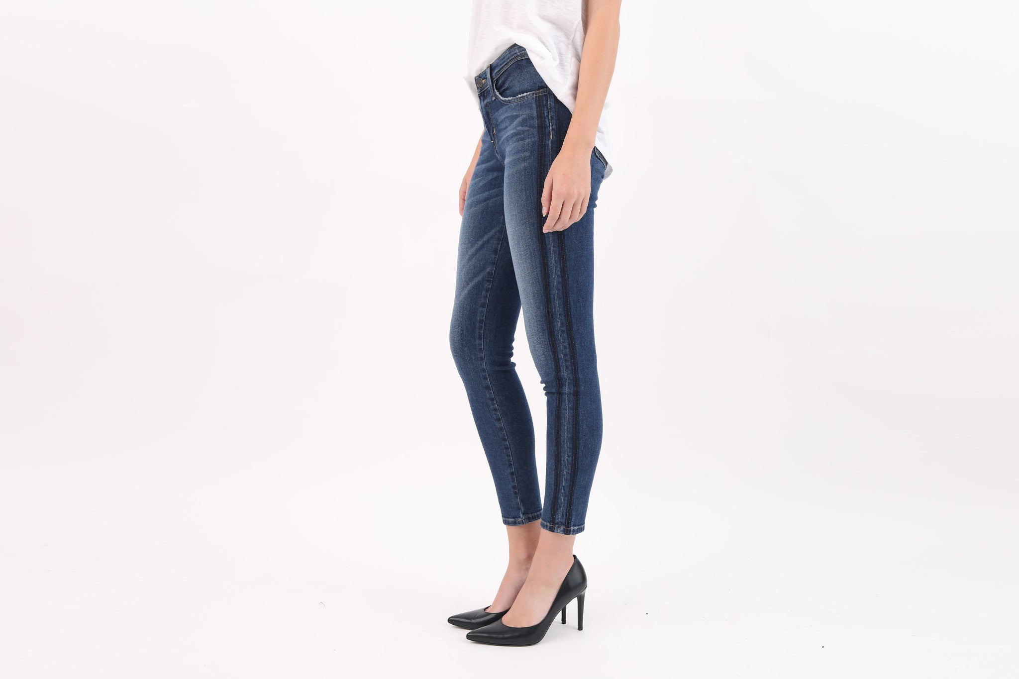 Double Side Strip Skinny Jeans