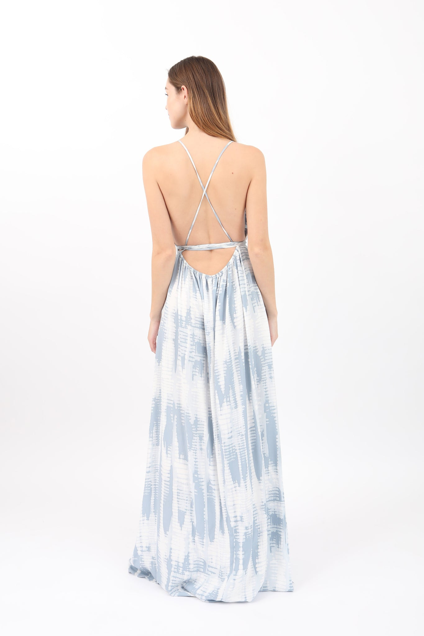 Cross Back Tie Dye Maxi Dress