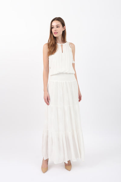 Side Neck Tie Tiered Maxi Dress