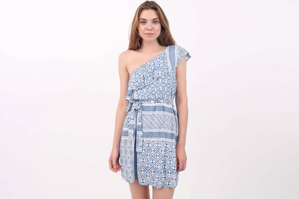 Geometric Print One Shoulder Dress