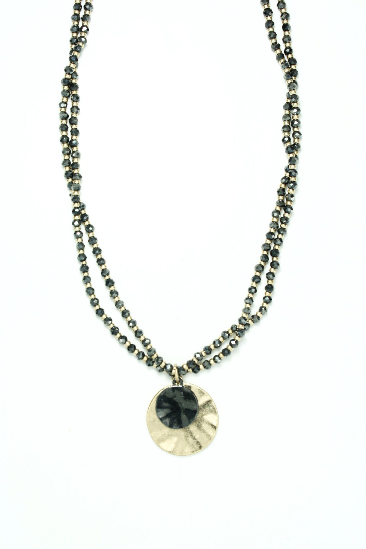 2 STRAND CRYSTAL BEADED DUBLE DISC IN HEMETITE