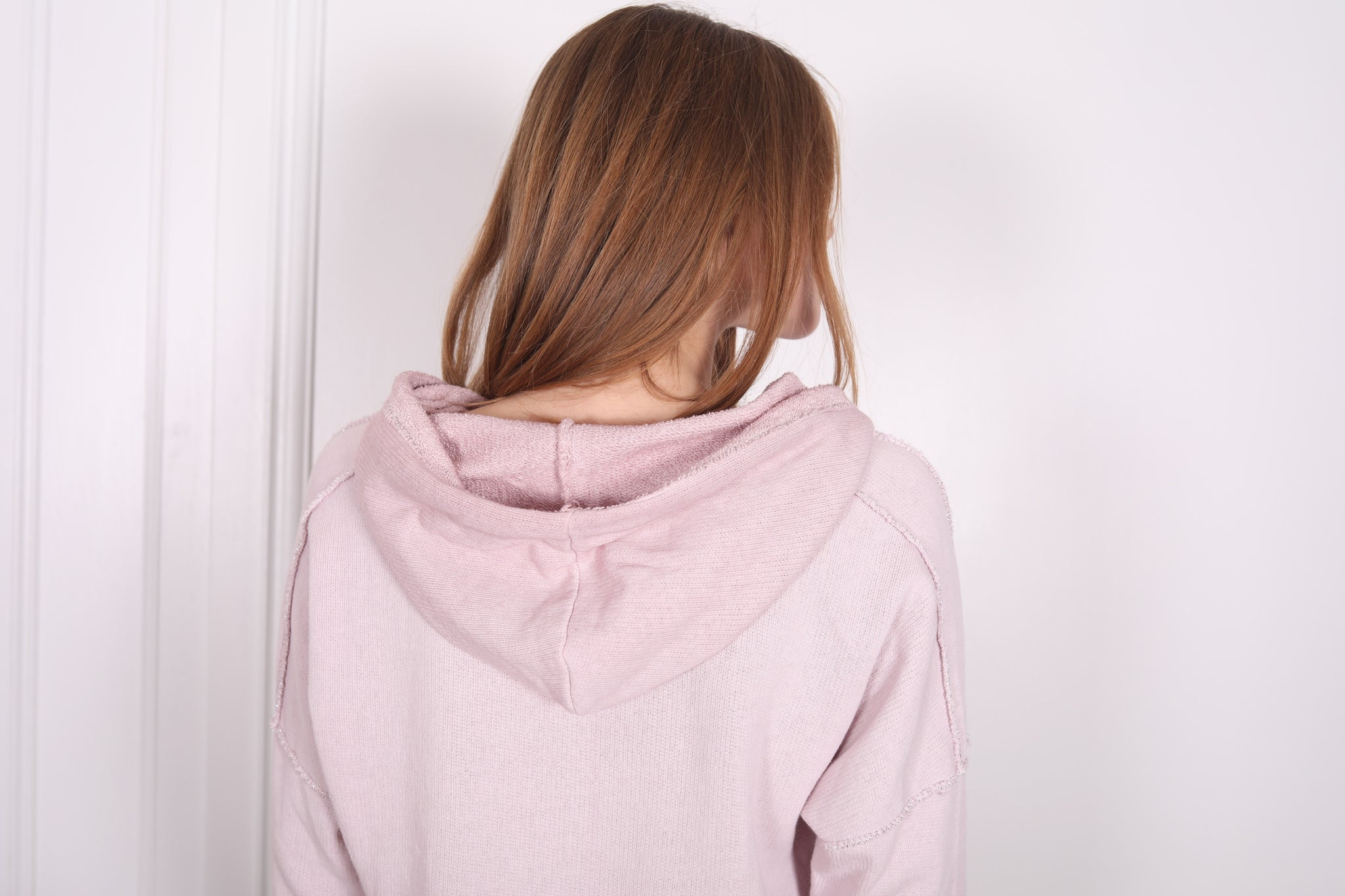 Cara Raw Metallic Hooded Sweater