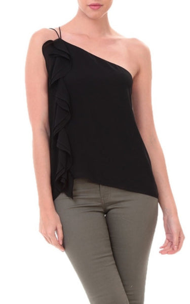 Amelie One Shoulder Top In Black