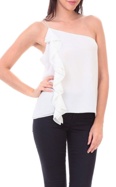 Amelie One Shoulder Top In Off White