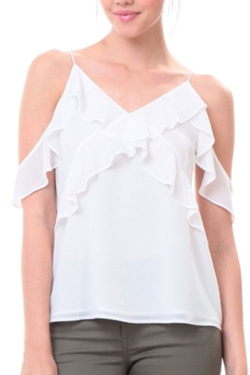 Bianca Ruffle Top In Off White