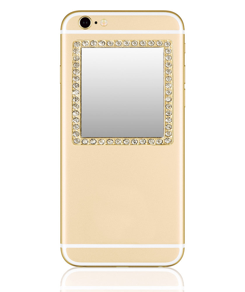 Phone Mirror in Gold with Crystals