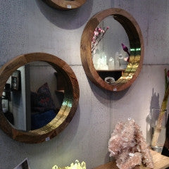 Round Gold Leaf Mirror