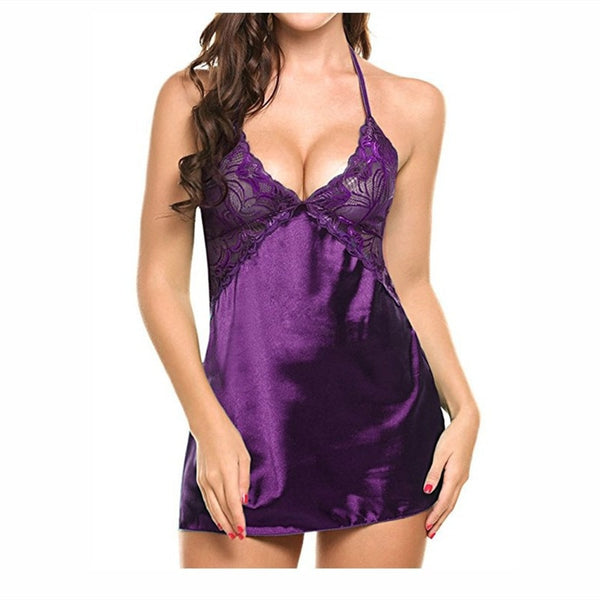 Sexy Lace Satin Nightwear Babydoll Erotic Costumes Underwear plus size Lingerie Sexy Hot Women erotic Porno Dress For Sex Female