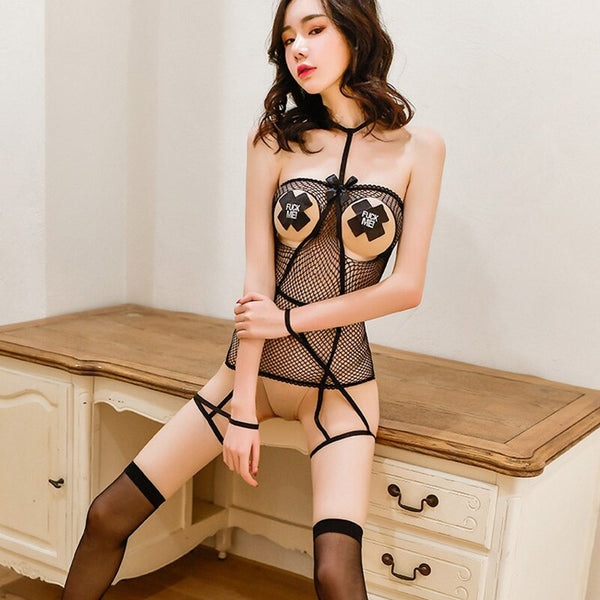 Sexy Mesh Underwear Women Hot Open Bra Erotic Lingerie Transparent Porno Crothless Babydoll Costumes Stockings Sex Games