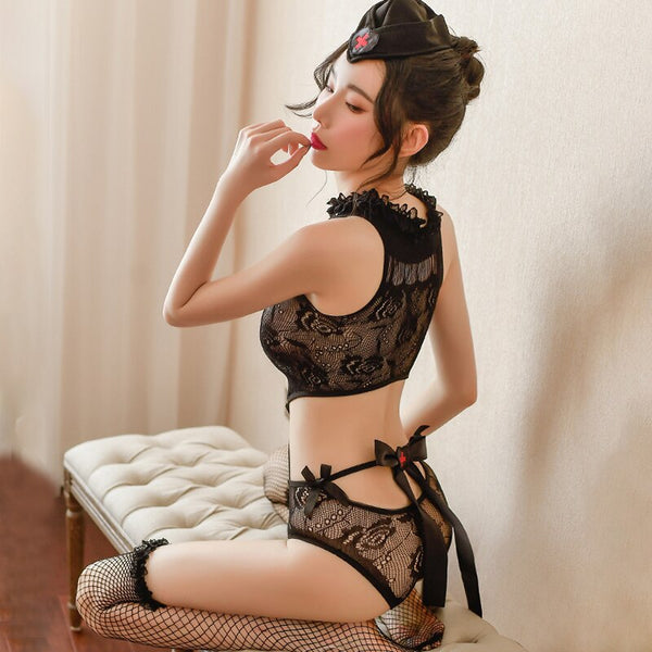 Sexy Lace Nurse Uniform Erotic Lingerie Women Transparent Porno Open Bra Babydoll Costumes Stockings Cosplay Sex Games
