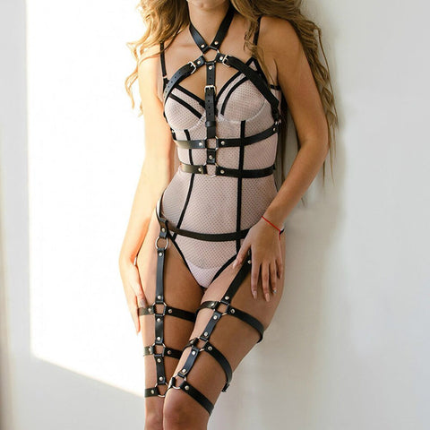 Leather Harness Set Garter Belts Straps Bra