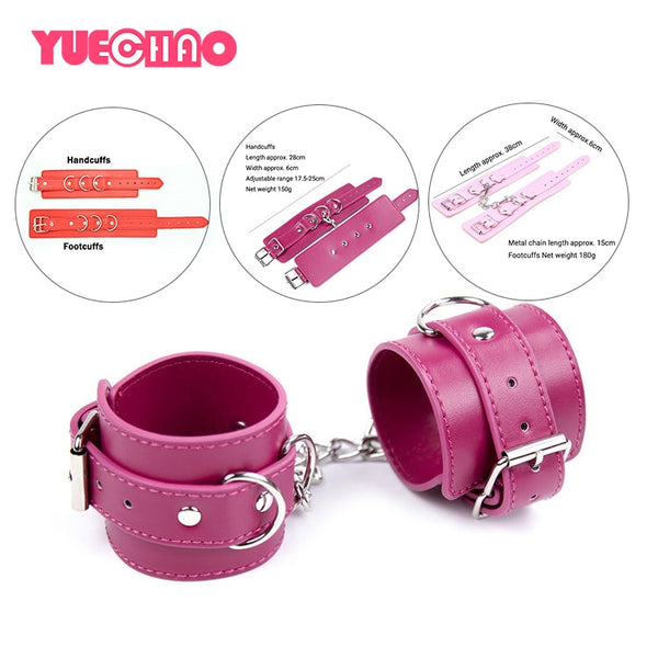 PU Leather Adjustable Handcuffs Footcuffs BDSM Bondage Restraint Hand Cuff Ankle Cuff Slave Roleplay Erotic Sex Toy for Couple