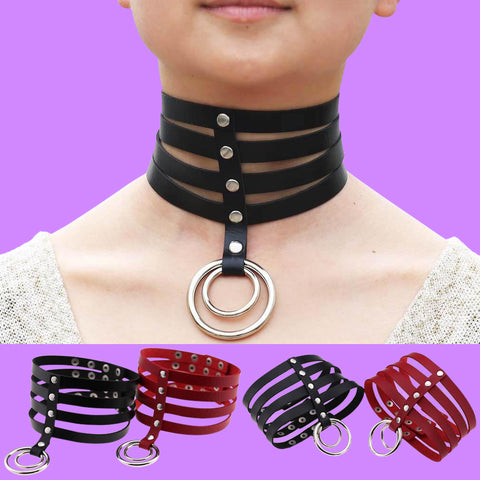 BDSM Choker Bondage Gear Fetish Collar Metal Black Leather