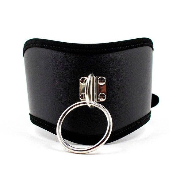 Black PU Leather Neck Collars And Leash With Chain for BDSM Bondage