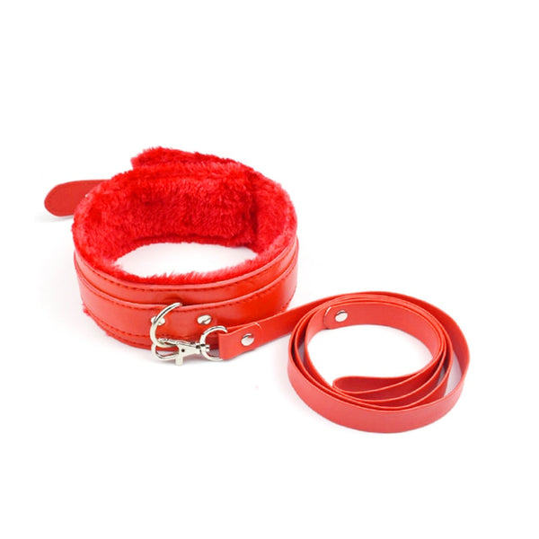Metal Furry Sex Handcuffs Restraints Leather Collar Adult Games BDSM Bondage Set Sex Toys for Couples Erotic Accessories