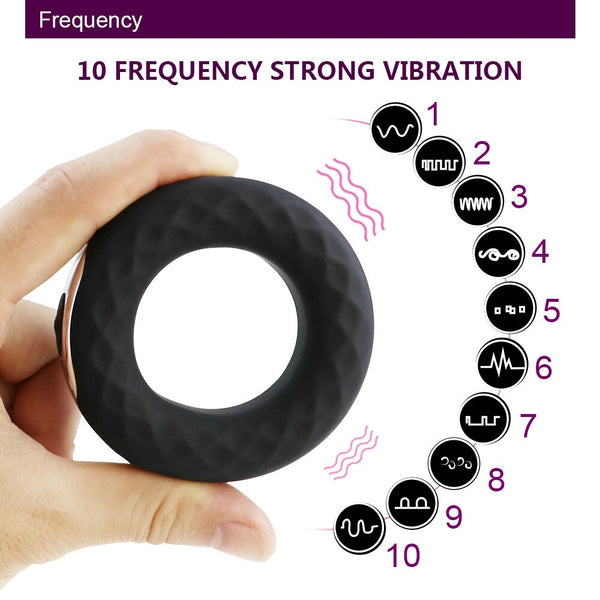 Penis Ring Vibrating Ring Delay Ejaculation Male Masturbator USB Charged 10 Frequency Strong Vibrating Cock Ring Sex Toy for Men