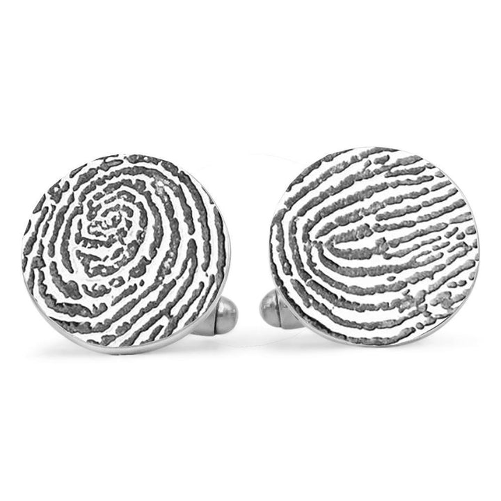 """Tender Touch"" Fingerprint Cufflinks - Round-Smallprint (Franchising) LLC"