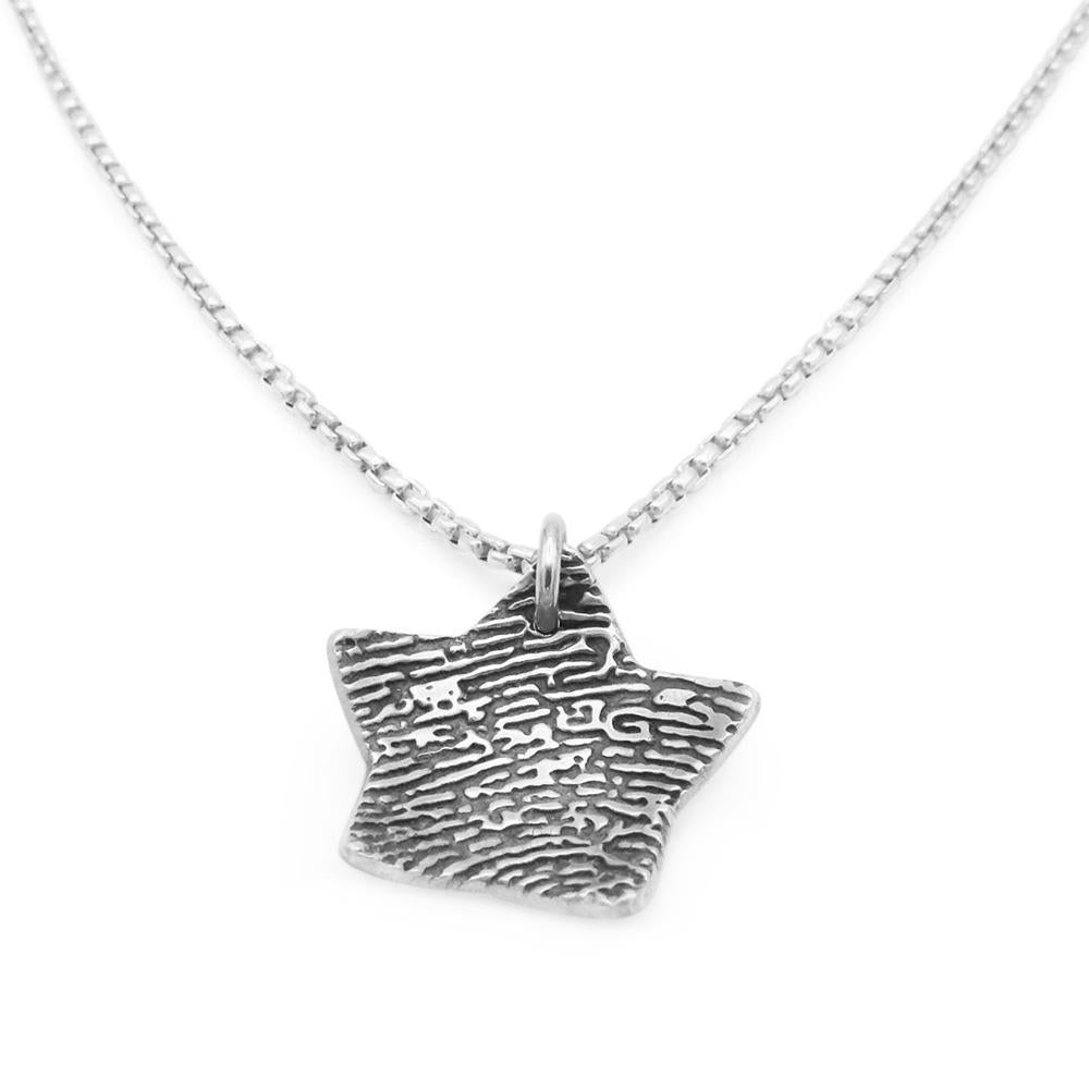 """Tender Touch"" Fingerprint Dome Necklace - Silver Link-Smallprint (Franchising) LLC"