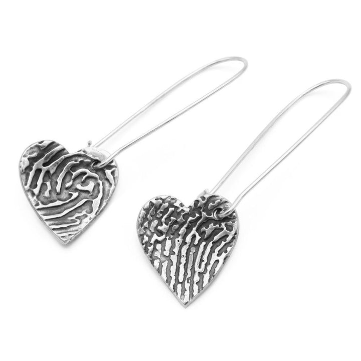 """Tender Touch"" Fingerprint Earrings - Long Dangle-Smallprint (Franchising) LLC"