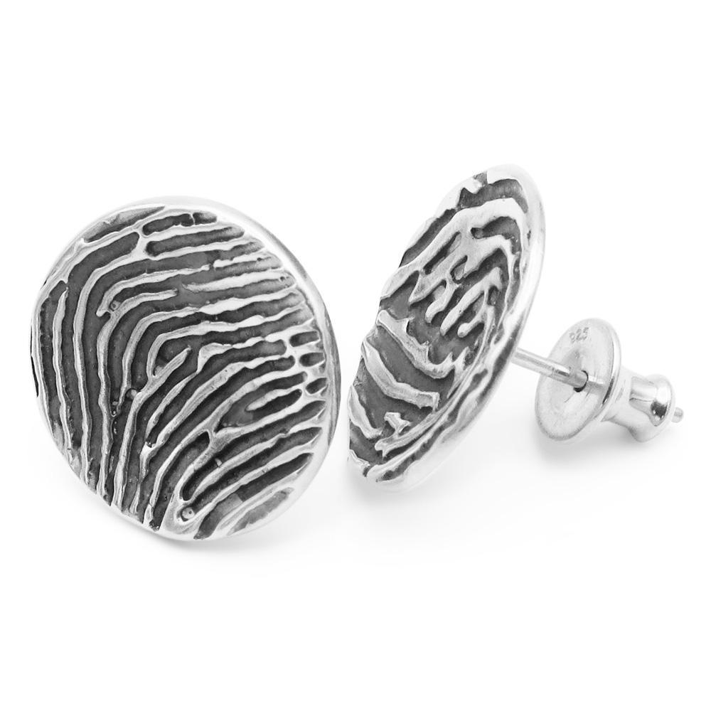 """Tender Touch"" Fingerprint Earrings - Stud-Smallprint (Franchising) LLC"
