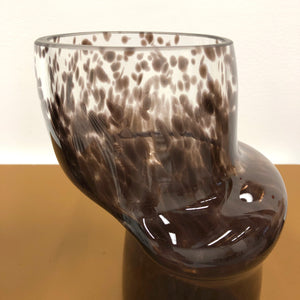 Speckled Black and Clear Pipe Ring Vessel
