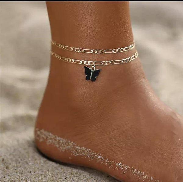 Butterfly Double chain anklet - Butterfly Centric