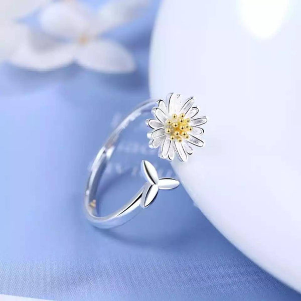 925 sterling silver sunflower ring - Butterfly Centric