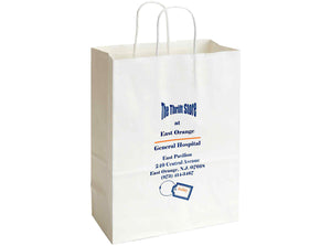 Recycled White Kraft Custom Paper Shopping Bag 10x4.35x13