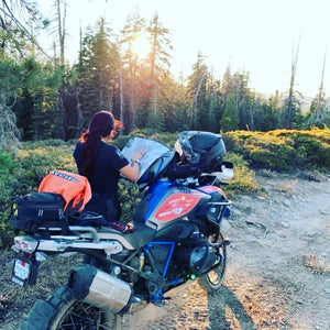 Our 10 Liter used for map storage  on the back of Jocelin's bike on the Rubicon Trail.