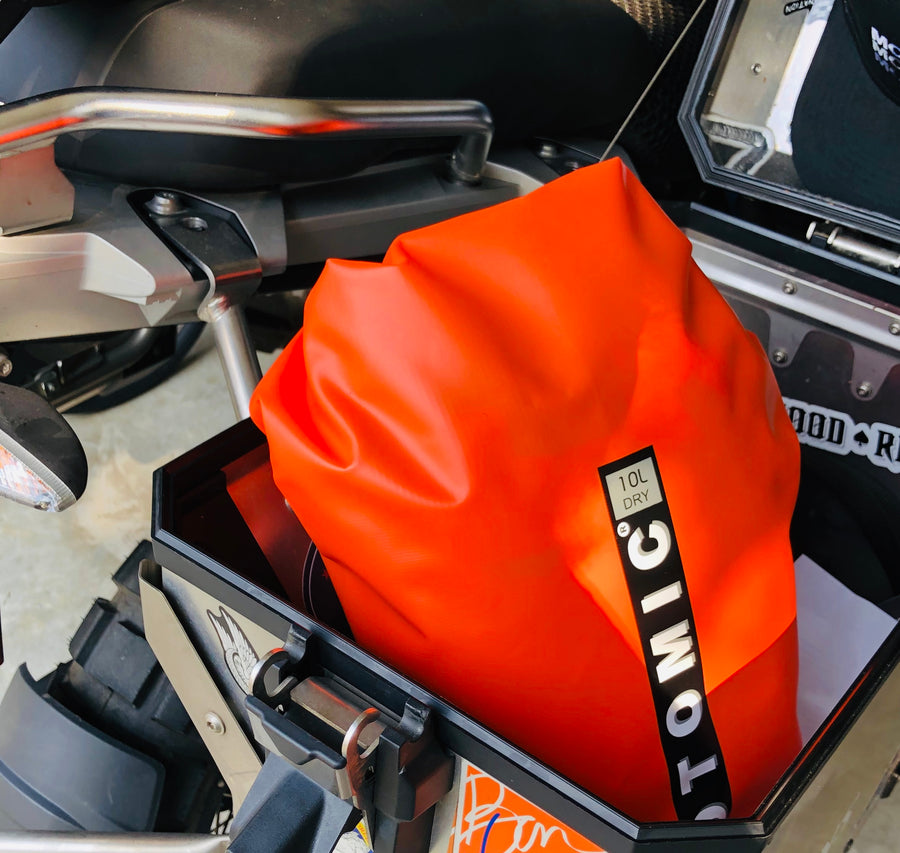 This 10L DryBag fits easily into most full-sized panniers.
