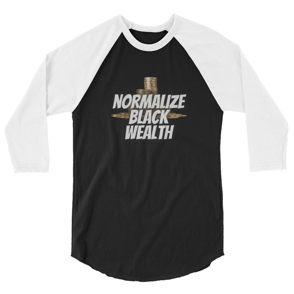 Normalize Black Wealth 3/4 sleeve raglan shirt