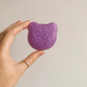 Purple Teddy Bear konjac sponge