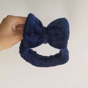 Navy Fleece Bow Headband