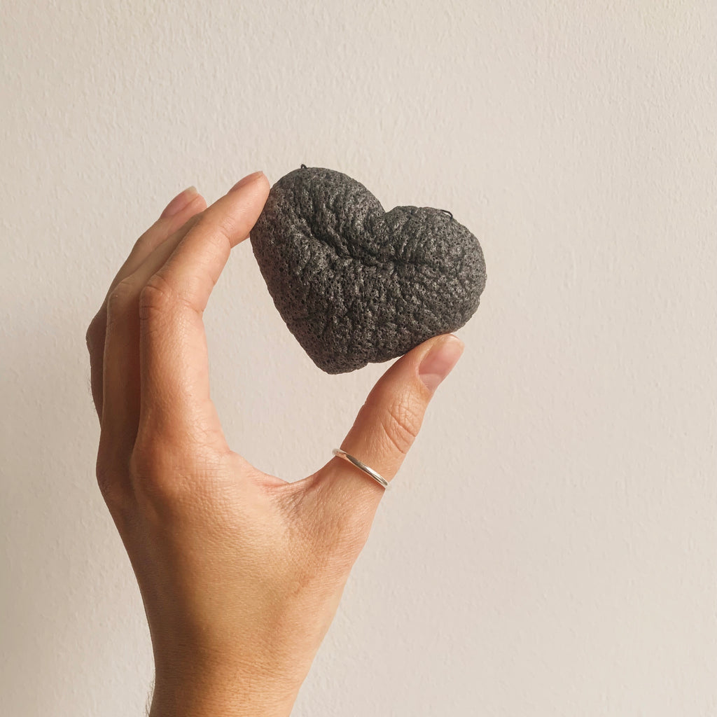 Black Charcoal Heart face konjac sponge