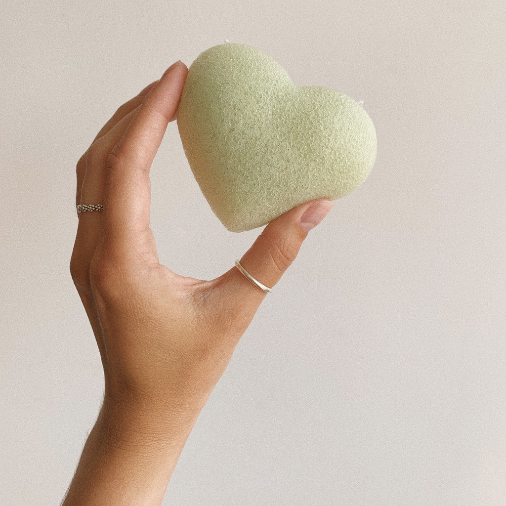 Green Clay heart konjac sponge