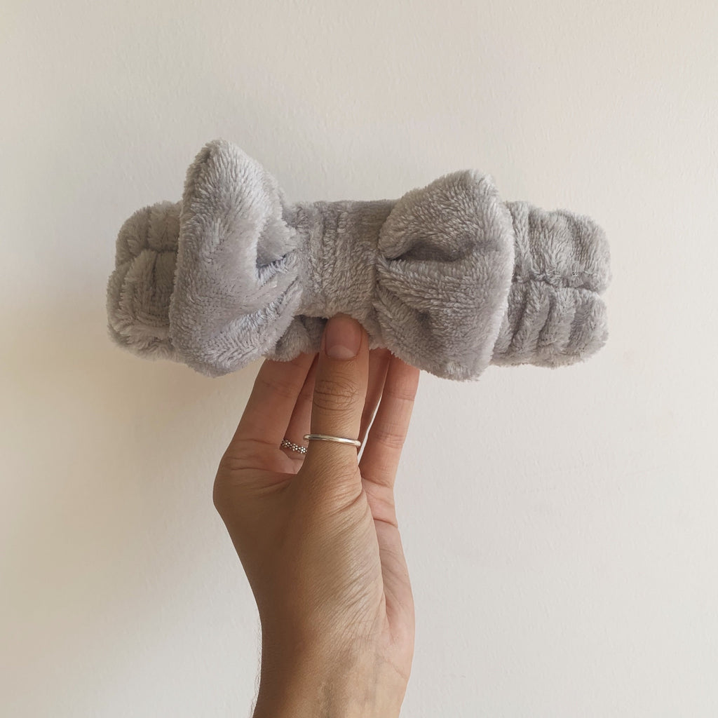 Grey Fleece Bow Headband