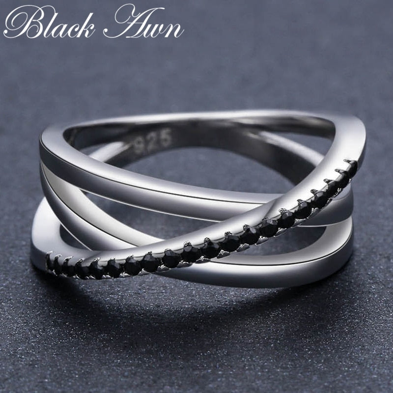 Black Spinel Wedding Rings