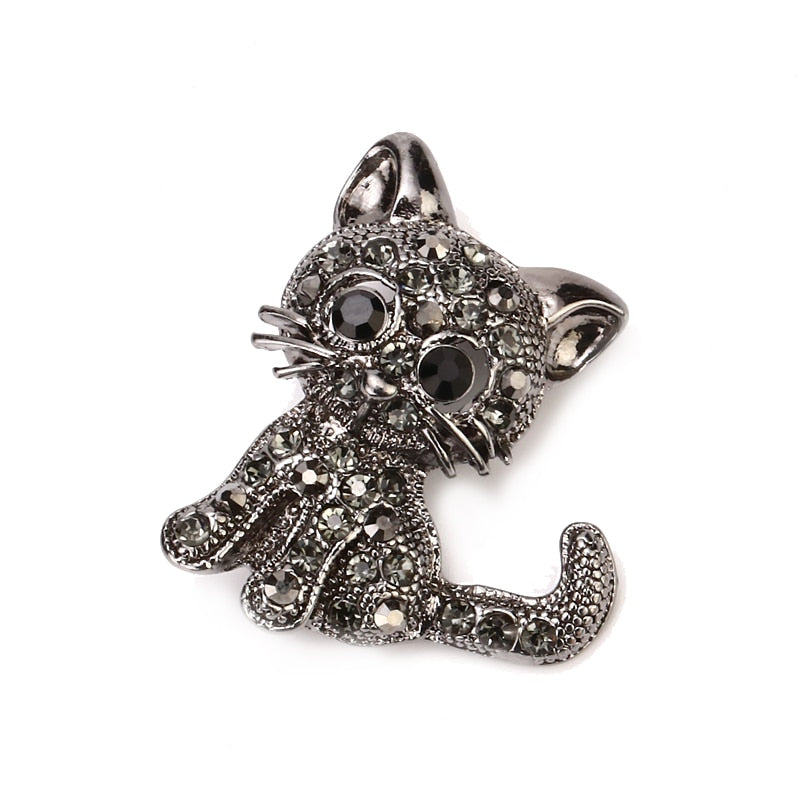 Eye-catching Rhinestone Cat Brooches