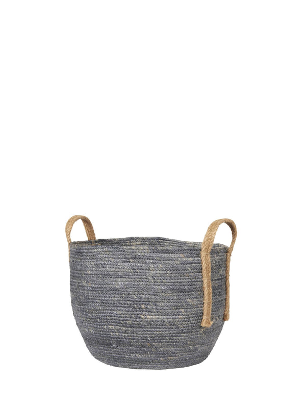 Baska Large Denim Blue Jute Handled Basket