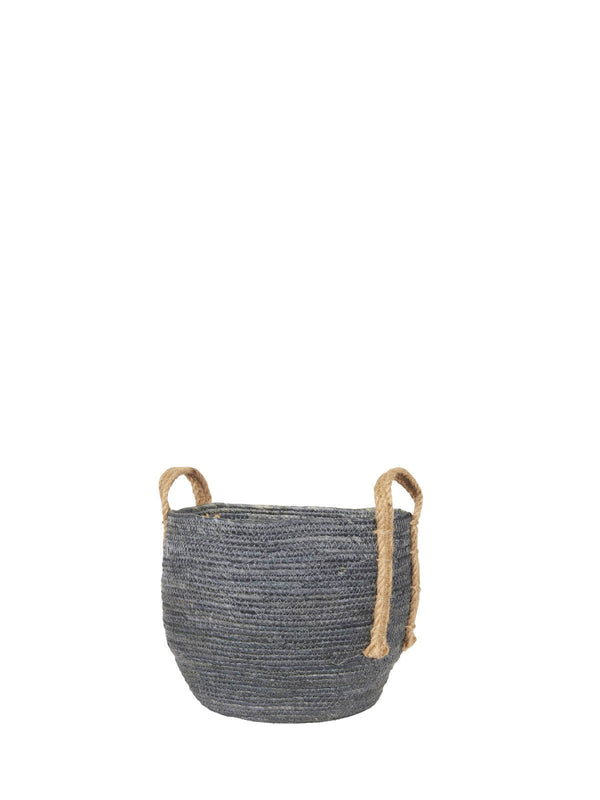 Baska Medium Denim Blue Jute Handled Basket