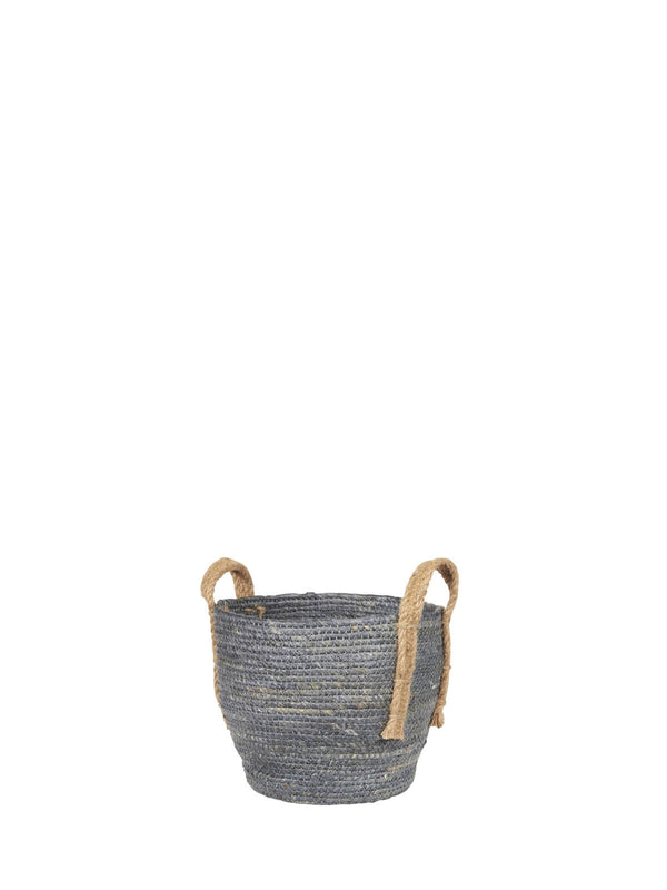 Baska Small Denim Blue Jute Handled Basket