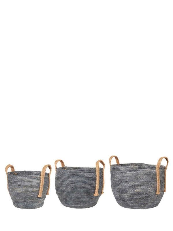 Baska Denim Blue Jute Handled Basket (set)
